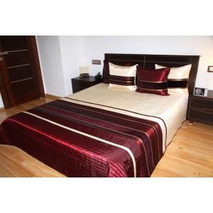Bordový prešívaný prehoz na posteľ