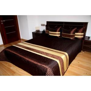 Tmavo hnedý prešívaný prehoz na posteľ