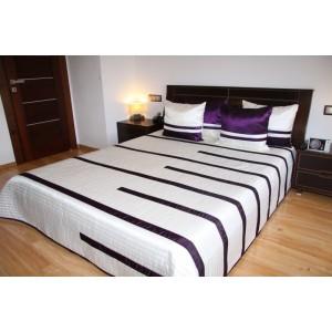 Biely prehoz na manželskú posteľ s fialovými pruhmi