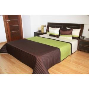 Hnedo-zelený prehoz na manželskú posteľ