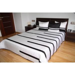 Biely prehoz na posteľ s čiernými pruhmi