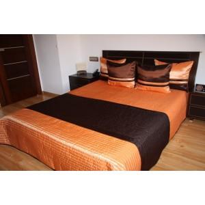 Oranžovo-hnedý prehoz na manželskú posteľ
