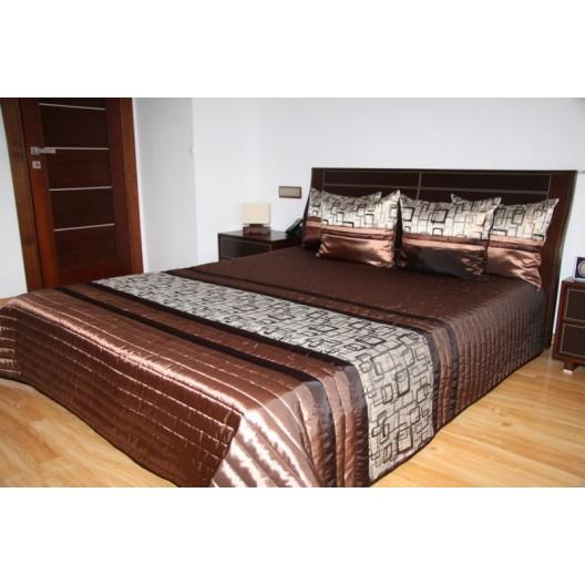Hnedý lesklý prehoz na posteľ