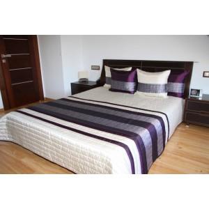 Biely prehoz na posteľ s fialovými pruhmi