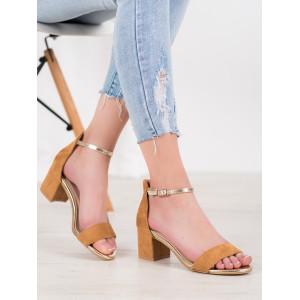 Originálne dámske sandále v hnedej farbe na hrubom podpätku