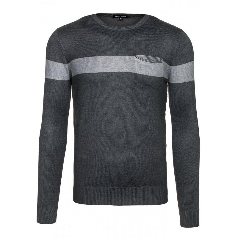 a271d3e2a47ae Sivý pánsky sveter s vreckom - fashionday.eu