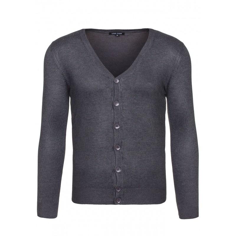 8d8da68ea167 Pánsky sivý sveter s gombíkmi - fashionday.eu