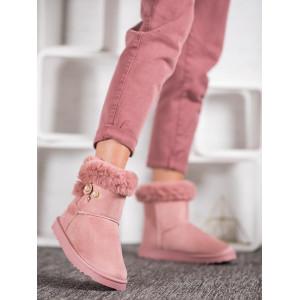 Trendové semišové dámske snehule ružovej farby