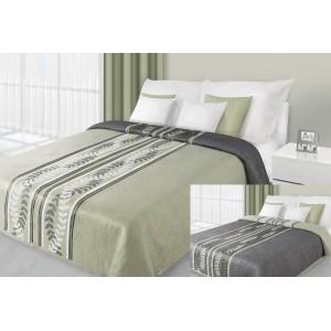 Olivový prehoz na posteľ s kvetovým vzorom