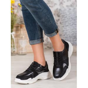 Čierne dámske tenisky na vysokej bielej platforme