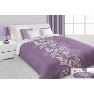 Fialový prehoz na posteľ s kvetovým vzorom