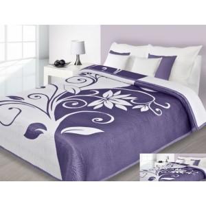 Bielo-fialový prehoz s kvetinovým vzorom