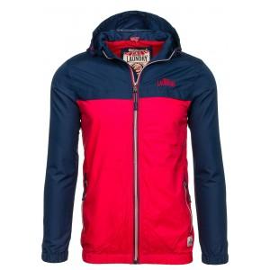 Červeno modrá pánska jesenná bunda s kapucňou