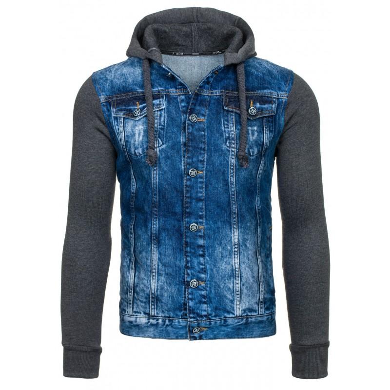 Pánska džínsová bunda s kapucňou - fashionday.eu 6d5fe7a9f8b