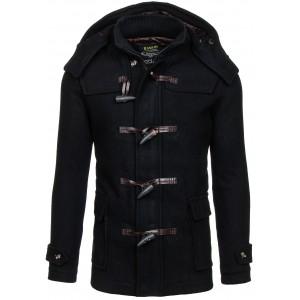 Pánsky čierny zimný kabát s kapucňou a vreckami
