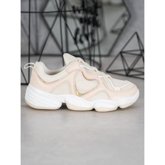 Trendové béžové tenisky na bielej platforme