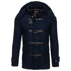 Pánsky jesenný tmavo modrý kabát