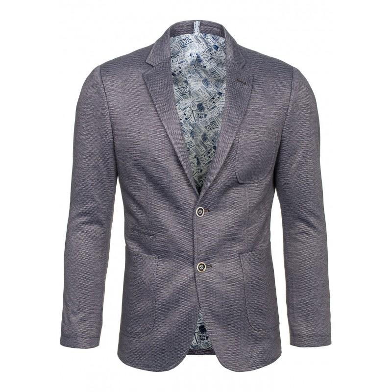 4796b385d589 Športovo-elegantné pánske sako sivej farby - fashionday.eu