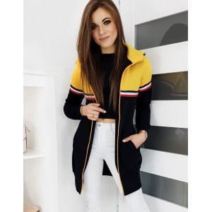 Štýlová dámska žltá mikina BROOK na zips s kapucňou