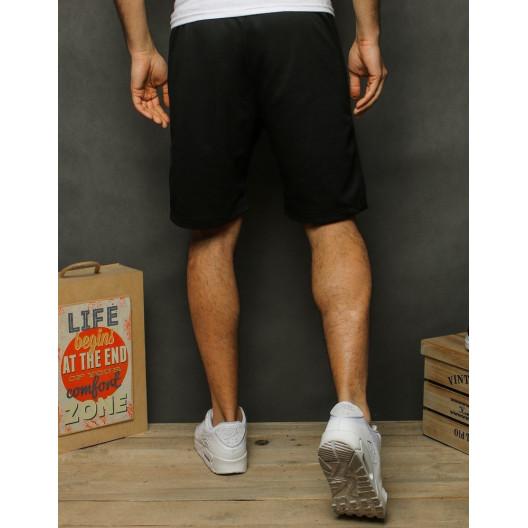 Športové pánske čierne teplákové kraťasy nad kolená