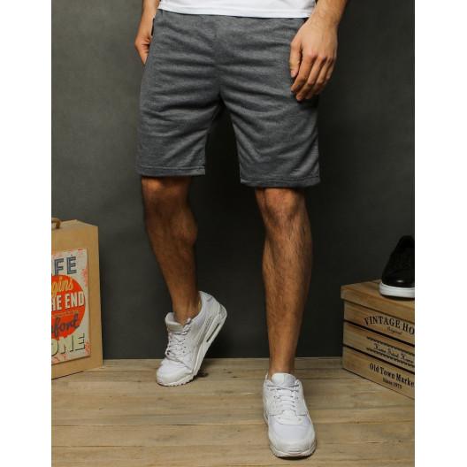 Štýlové pánske sivé teplákové kraťasy nad kolená