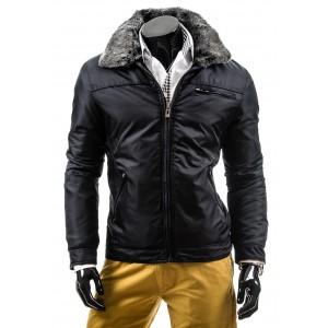 Pánske zimné bundy čiernej farby bez kapucne