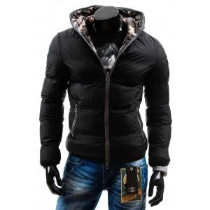 Čierna obojstranná pánska bunda na zimu
