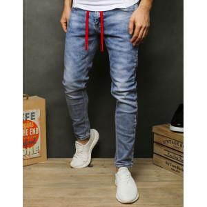 Tmavo-modré pánske rifľové nohavice zúžené