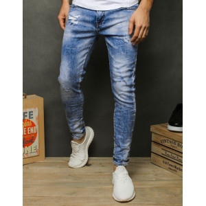 Mierne zúžené pánske moderné rifľové nohavice