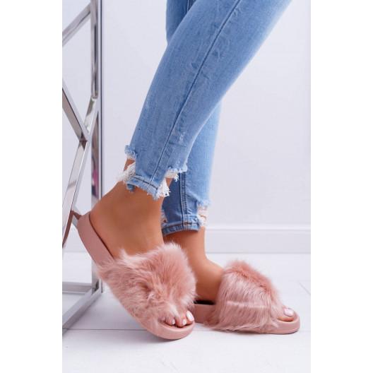 Štýlové ružové dámske šľapky s kožušinou