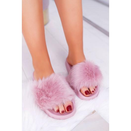 Dámske ružové šľapky s kožušinou