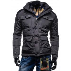 Pánska zimná bunda s vreckami a kapucňou