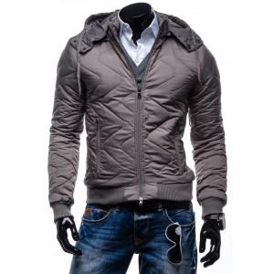 Pánska prešívaná zimná bunda hnedej farby