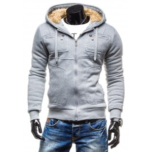 Pánska zimná bunda s vreckami sivej farby