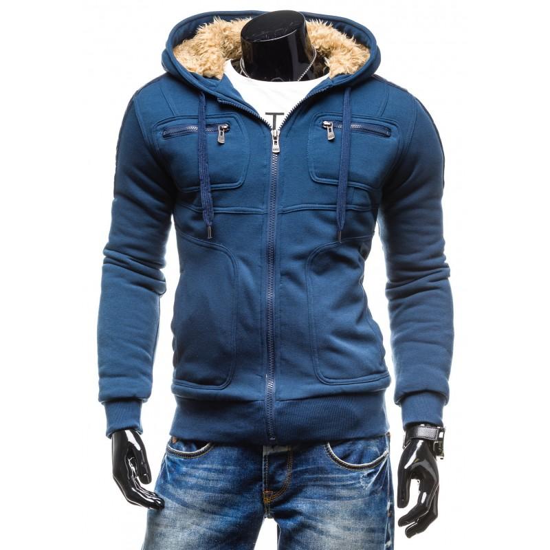 Zateplené pánske zimné bundy modrej farby - fashionday.eu 7f150468fb1