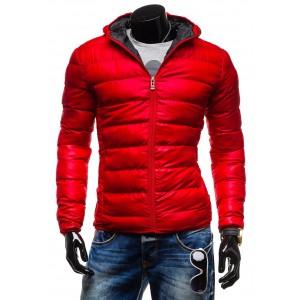 Pánske zimné bundy červenej farby