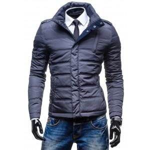 Tmavo sivá pánska prešívaná zimná bunda