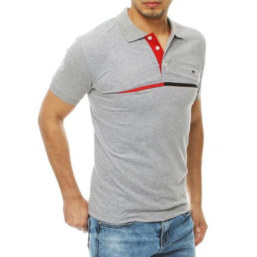 Pánske sivé polo tričko s decentným pruhom