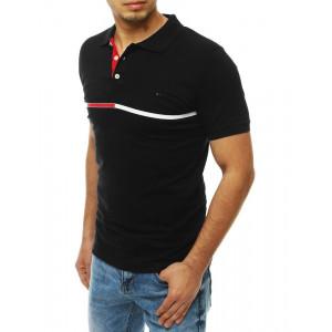 Moderné pánske čierne tričko s pásom a golierom