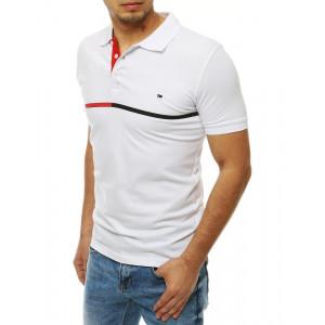 Biele pánske polo tričko s golierom a zapínaním na gombíky