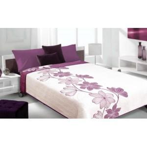 Bielo fialové prehozy na posteľ s kvetovým vzuorom