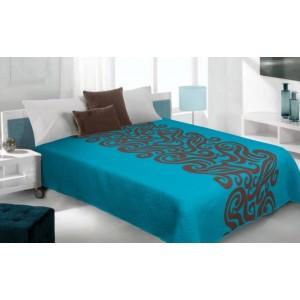 Modré prehozy na posteľ s abstraktným vzorom
