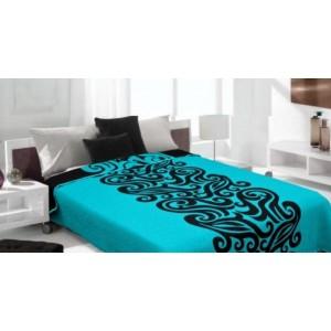 Prehozy na posteľ modro čierne so vzorom