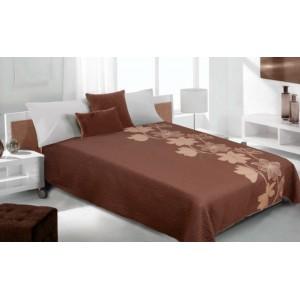 Prehoz na posteľ hnedý so vzorom