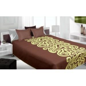 Prehoz na posteľ obojstranný hnedo zelenej farby