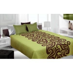 Zeleno hnedý prehoz na posteľ s abstraktným vzorom