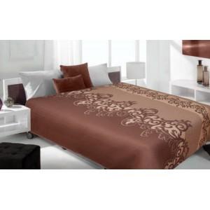 Hnedý prehoz na posteľ so vzormi