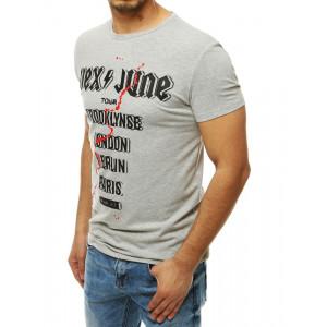 Moderné pánske sivé tričko s nápisom