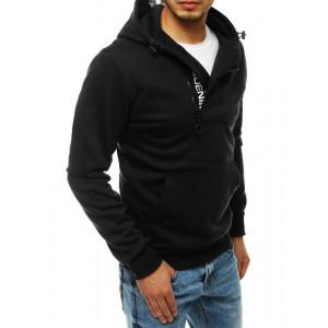 Trendy pánska čierna mikina s kapucňou a zapínaním na zips