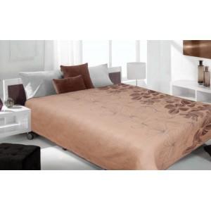 Prehoz na posteľ hnedý so vzormi